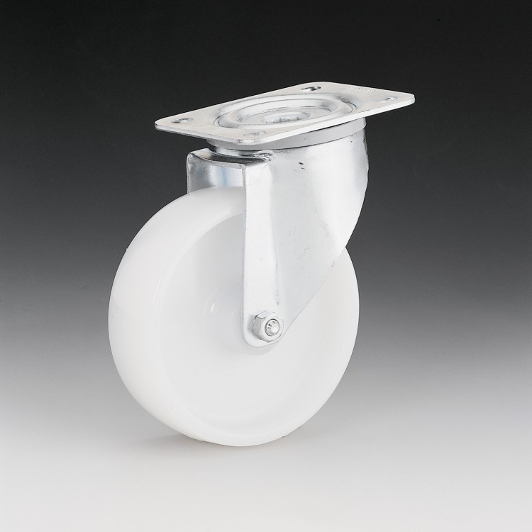 W104 – Maintenance swivel wheel 125 Ø white nylon